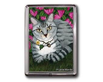 Silver Tabby Cat Magnet Azalea Garden Fantasy Cat Art Framed Magnet Gifts For Cat lovers