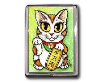 Lucky Cat Magnet Maneki Neko Luck Good Fortune Fantasy Cat Art Framed Magnet Gifts For Cat Lovers