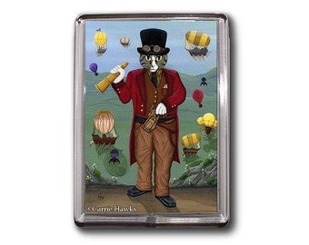 Steampunk Cat Magnet Victorian Gothic Airships Hot Air Balloons Fantasy Cat Art Framed Magnet Cat lovers Gift