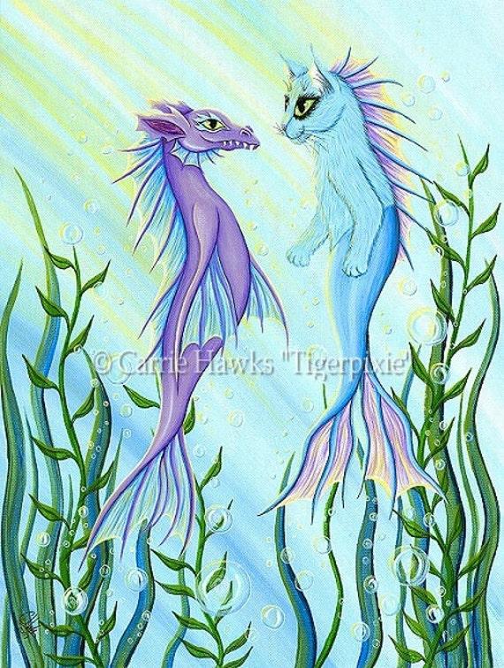 Cat Mermaid Art Dragon Mercat Ocean Sea Fantasy Cat Art Print 8x10