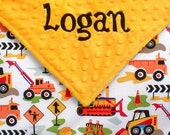 Custom Baby Boy Blanket. Personalized Baby Blanket, Monogram Minky Blanket, Embroidered Baby Boy Gift, Tractors, Construction Trucks,  30x36
