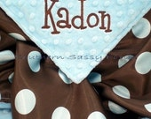 Satin Baby Blanket , Baby Boy Blanket - Minky and Satin Personalized