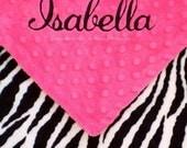 Zebra Baby Blanket - Personalized for Baby Girls - Security Blanket Size Lovie Zebra and Minky , 18x18