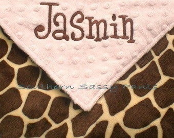 Personalized Baby Blanket , Giraffe Minky Security Blanket , Lovie for Baby Boy or Baby Girl - 18x18