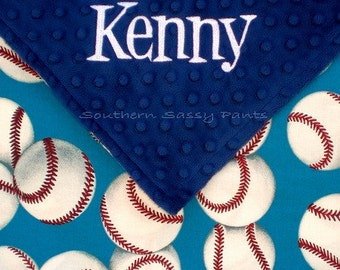 Personalized Baseball Baby Security Blanket - Baby Boy Minky Blankie Lovie , Minky Dot and Out of Print Baseballs - Last One