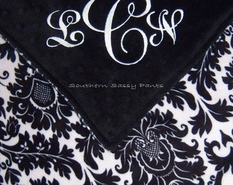 Personalized Adult Minky Blanket ,  Black and White Printed Blanket , Dynasty Damask Minky - 50x60