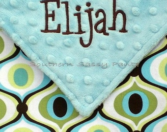 Personalized Baby Blanket , Minky and Spa Feeling Groovy - Embroidered Blanket for Baby Boy or Baby Girl - LIMITED but still available