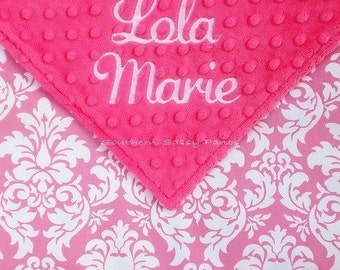 Personalized Baby Girl Blanket , Damask and Minky Dot Baby Blanket - You Design