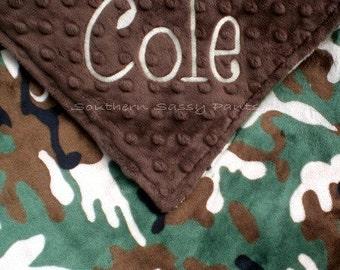 Personalized Baby Boy Camo Security Blanket , Monogrammed Camo Minky Lovie for Boys
