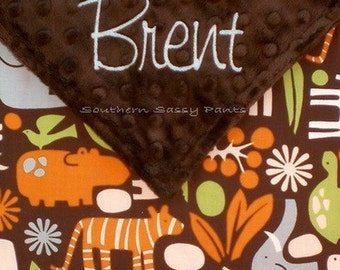 Personalized Baby Boy Security Blankie , Chocolate Brown 2D Zoo and Minky ,  Baby Boy Little Lovie - Limited but still available