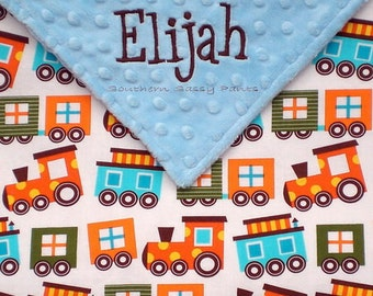 Personalized Baby Boy Security Blanket , Trains Organic Cotton and Minky Dot - Ready Set Go - LIMITED