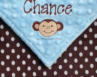 Personalized Minky Baby Blanket , Embroidered Baby Boy Blanket , Monkey Baby Blanket