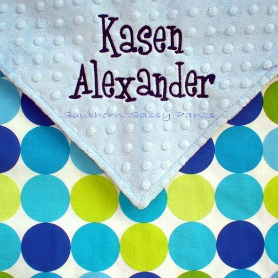 Personalized Baby Blanket, Baby Boy Blanket , Baby Shower Gift for Boys - Minky and Disco Dots Blanket - LAST ONE in this size