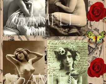 ViNtaGe nUdE COLLAGE SHEET instant download Printable - Antique Photograph - Victorian Beautiful Women - Nude Risque