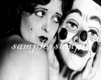 VINTAGE photo - instant DIGITAL DOWNLOAD Collage Sheet - Gypsy Creepy Clown Art Printable - Antique Photograph - Beautiful Woman