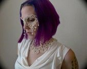 Tatted Lace Mask - Such A Sad Love - Ivory - Pearl and Crystal Embellished