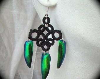Elytra Beetle Wing Tatted Earrings - Tenebrous