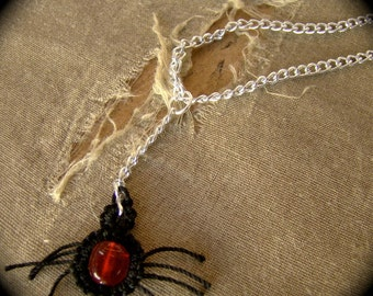 Tatted Lace Spider Pendant Necklace
