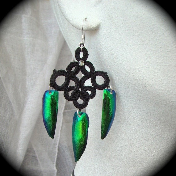 Elytra Beetle Wing Tatted Earrings - Tenebrous