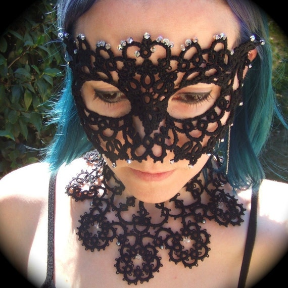 A Kind Of Pale Jewel - Tatted Lace Mask
