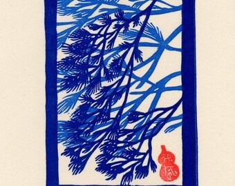 Blue Needles Block Print