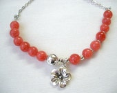 Poppy Red Beads with Flower Pendant