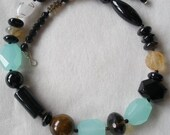 Black Brown Sea Green Asymmetrical Mixed Stone Necklace