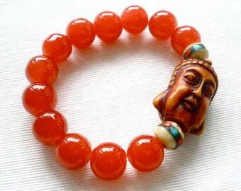 Poppy Red Beaded Buddha Bracelet
