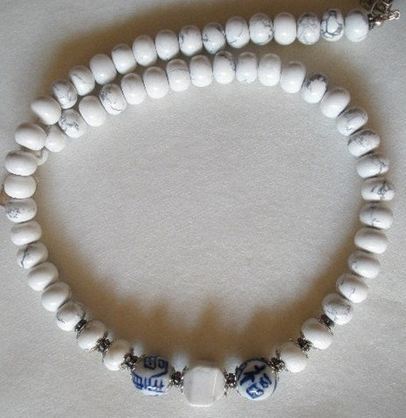 White Stone Beads Necklace with Chinese Porcelain Beads