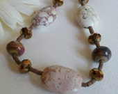 Shades of Jasper Necklace with Lampwork Beads and Sterling Silver, Statteam