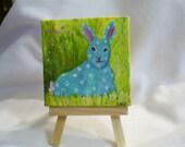 Rabbit painting,  Mini original acrylic painting canvas art, easel 3 x 3, small bunny artwork, whimisical animal art