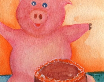 Pig painting Happy as a Pig with Cake - chocolate cake,  Original Watercolor Painting, happy pig art, 4 x 6, whimsical pig, pig watercolor