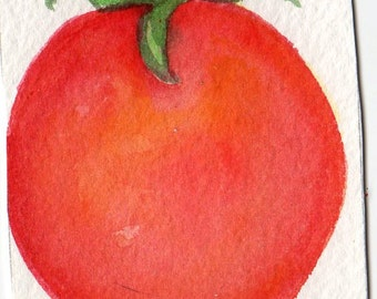 Original ACEO Tomato Watercolor Painting, ACEO Card Art, Small Fruit Painting, small Kitchen Wall Art, SharonFosterArt, SharonFosterArt