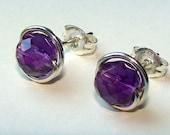 Amethyst Studs Amethyst Earrings Purple Earrings Purple Studs 6mm Faceted Wire Wrapped in Sterling Silver Amethyst Birthstone Studs