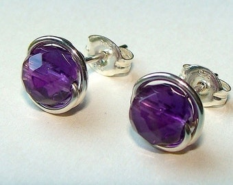Amethyst Studs Amethyst Earrings Purple Earrings Purple Studs 6mm Faceted Wire Wrapped in Sterling Silver Amethyst Birthstone Studs
