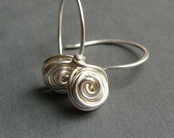 Flower Dangle Earrings Small Rose Bud Sterling Silver Dangle Earrings Drop Earrings