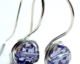 Tanzanite Earrings 8mm Tanzanite Swarovski Crystal Dangle Earrings in Sterling Silver Drop Earrings