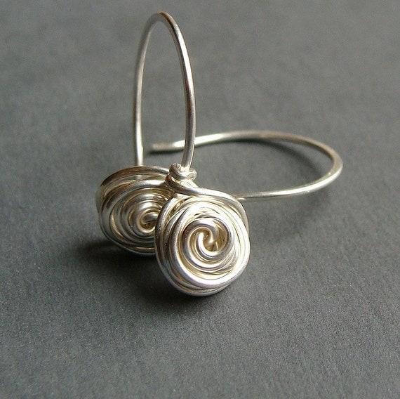 small bud sterling silver dangle earrings drop earrings