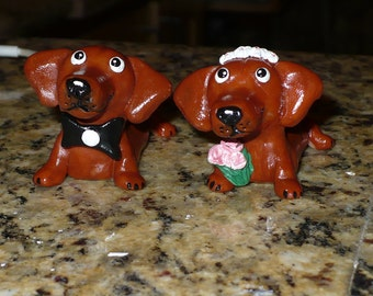 Dachshund Cake Topper,Dog Bride and Groom, Wedding Cake Topper Made to Order