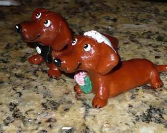 Daschund Wedding Cake Topper Made to Order