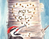 Initials Name Carved in Tree by Woodpecker Custom Valentine Card Greeting Note Card