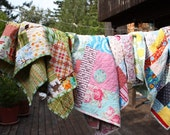 Designer Fabric Quilt Kit, Mixed Cotton Prints Complete Kit to make a Baby's Quilt