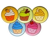Rainbow Cupcakes Pin Set of 5 One Inch Pinback Buttons