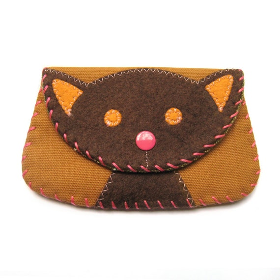 Cat Snap Wallet Purse in Browns and Orange