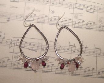 Talula - Rose quartz, snow quartz, garnet, cz, pink cz, and pearl earrings