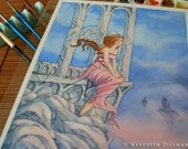 ORIGINAL watercolor painting, fantasy art, Angel, sunset, Castles in the Sky