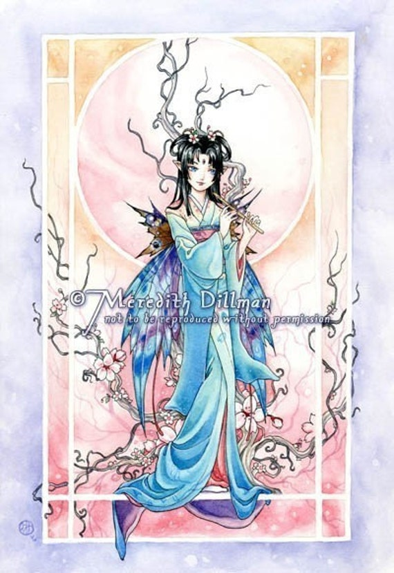 Japanese Kimono, Fairy art print, cherry blossom, flute player, pastel colors  - 8x10, The Sweet Music of Spring