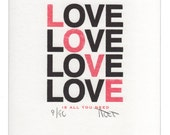 All You Need Is Love letterpress print, hand made wedding, anniversary, engagement or Valentine's gift