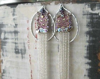 Elegant Earrings, Antique Metallic Embroidered Silk, Lilac, Purple, Silver, Chains, Long Earrings, Bohemian Gypsy