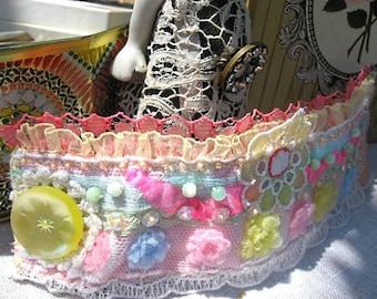 Pretty Pom Pom Bracelet, Vintage, Lace, Beaded, Pink, Lemon, Pastel, Blue, Cuff, Kawaii